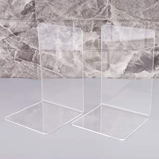Kioneer Acrylic bookends Clear bookends 1 Pair Plastic Non-Slip bookend (Acrylic)