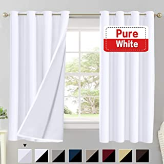 Flamingo P 100% Blackout Curtains for Living Room Double Layer Faux Silk Room Darkening Thermal Insulated Curtains Energy Saving Grommet Window Treatment Panels (Pure White, 52 by 63-inch)