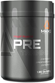 MaxQ Nutrition PRE-Training pre workout powder, energy drink supplement w/ Creatine, BCAAs, Beta Alanine, Arginine, Tyrosine and more. Fruit Punch, 20 servings.
