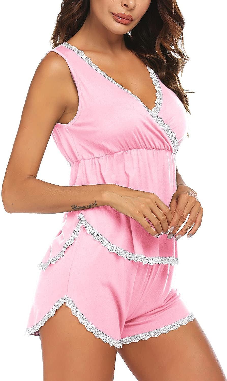 Ekouaer Womens Pajamas Set Sleeveless Sleepwear V Neck Nightwear Soft Pj Lounge Sets S-XXL