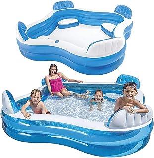 WUAZ Swim Center Pool Familia con los Asientos, Familia, Piscina Rectangular para niños, fácil de Montar, Azul, 229 x 229 x 66 cm