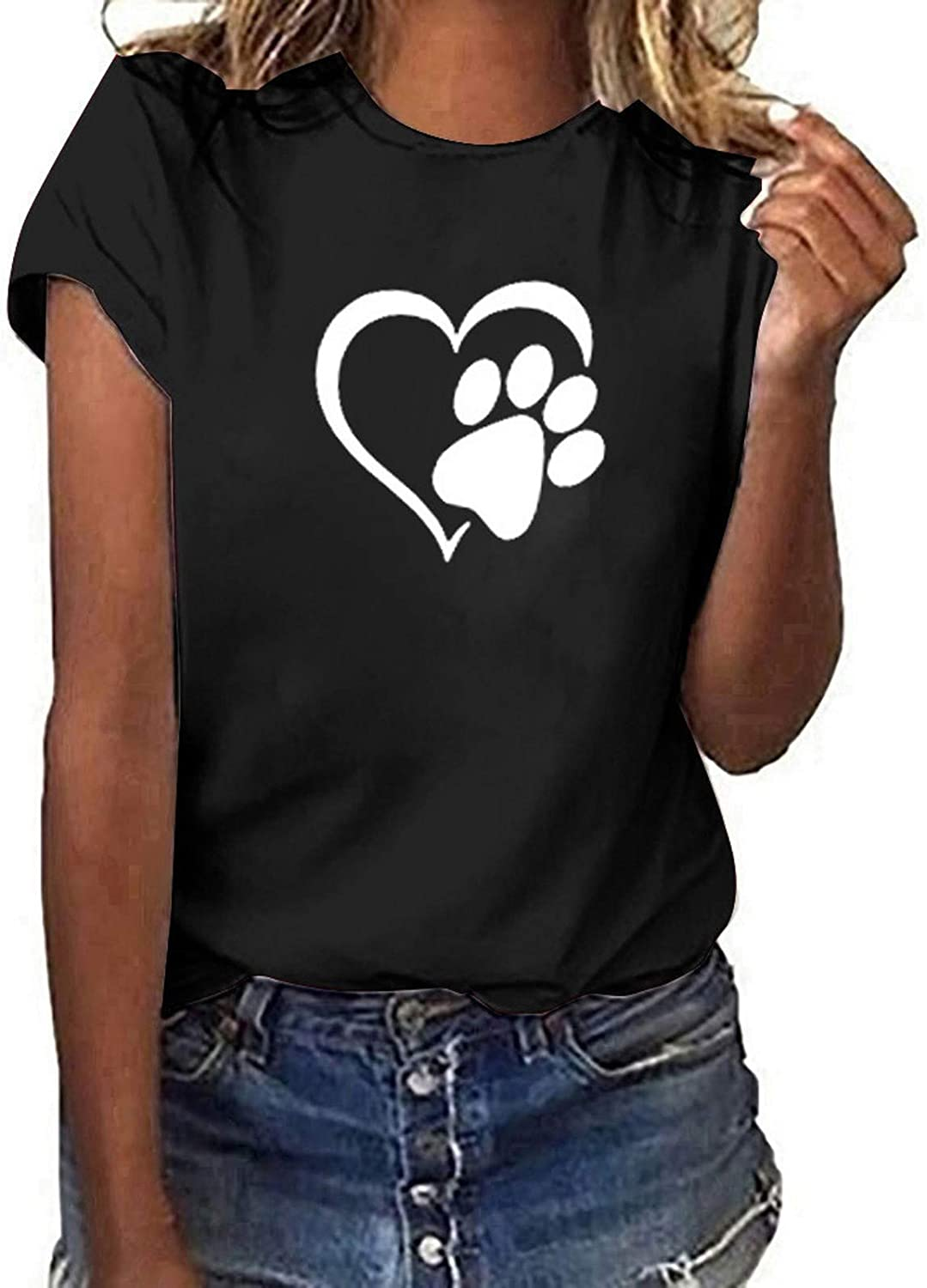 Tshirts for Womens,Women Short Sleeve Shirt Funny T-Shirt Casual Letter Print Cute Graphic Summer Tee Tops Tunics Blouses