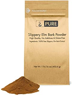 Slippery Elm Bark Extract Powder (1 lb) by Pure Organic Ingredients, Highest Concentration (10:1), 100% Pure & All-Natural, Vegan, Gluten-Free Throat & Indigestion Relief*, Digestive Support*, Eco-Fr