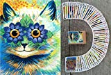FlonzGift Psychedelic Cats Playing Cards (Poker Deck 54 Cards All Different) Unique Cats Art by Louis William Wain Vintage Cards