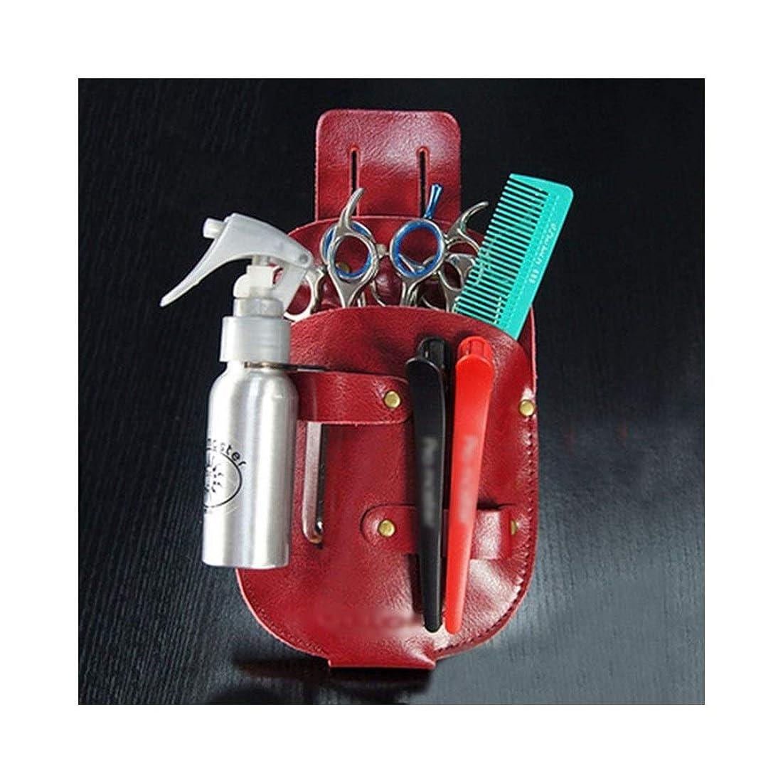 ポップ策定するランデブーJPAKIOS ヘアサロンレザー理容櫛プロのヘアスタイリスト理髪はさみウエストキットやかんバッグ (色 : ワインレッド)