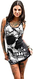 Vicbovo Women Sexy Scoop Neck Skull Print Sleeveless Bodycon Dress Club Party Mini Tank Dress Summer Shirt Dress