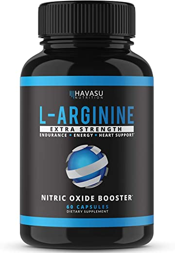 Havasu Nutrition L-Arginine Extra Strength Capsules - Nitric Oxide Booster for Endurance, Energy & Heart Support / 60 Capsule