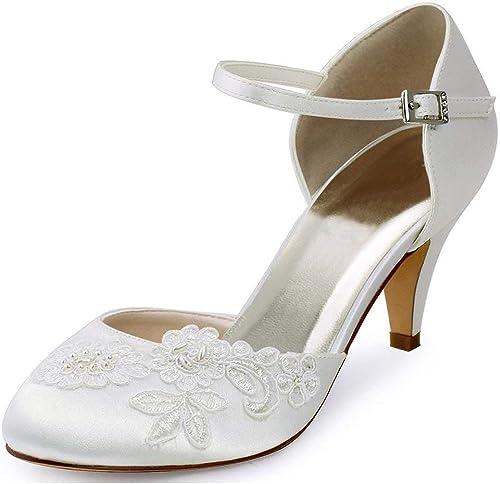 ZHRUI Les Les dames Dentelle Fleur Cheville Sangle Sangle Satin soirée Chaussures de Mariage (Couleuré   Ivory-5cm Heel, Taille   8 UK)  plus vendu