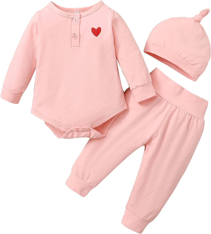 Newborn Baby Boy Girl 3 Pcs Cotton Long Sleeve Romper +Pant Hat Outfits 0-12 M