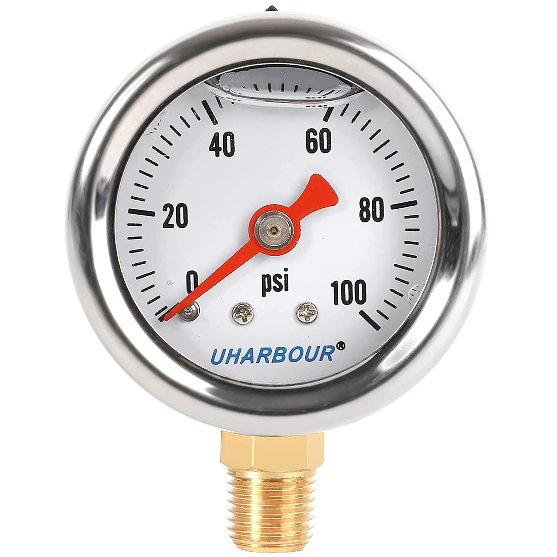 UHARBOUR Liquid Filled In a popularity New sales Fuel Pressure Gauge 1-1 2