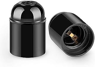 Soporte de lámpara de baquelita de 4 piezas Soporte de bombilla vintage Adaptador de portalámparas E27 negro