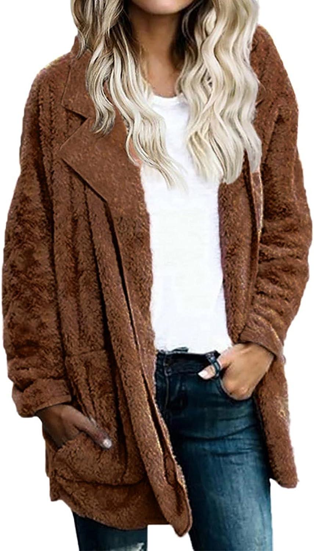 Womens Sherpa Fleece Cardigan Loose Long Sleeve Open Front Jacke