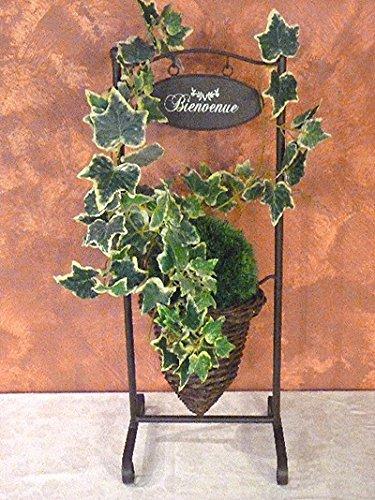 Country Casa Bloempot, conisch, van wilgentenen in metalen standaard, 27 x 23 x 69 cm