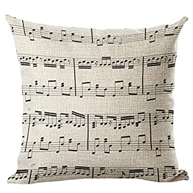 Music Printed Stuffed Cushion LivebyCare Linen Cotton Cover Filling Stuffing Throw Pillow Insert Filler Pattern Zipper For Dinning Room Kitchen Chair Back Seat
