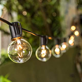 Vmanoo String Lights, 25Ft Globe Patio Lights with 27 Clear G40 Bulbs, Handling String light UL listed for Outdoor Indoor Use, Party Wedding Garden Gazebo Pergola Backyard Deck, Black Wire