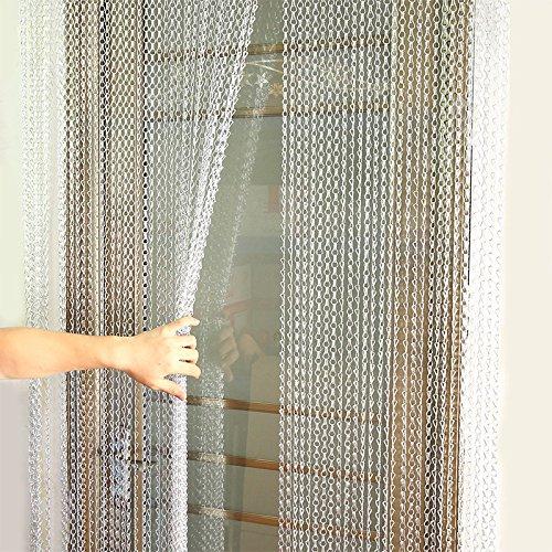 EBTOOLS Türvorhang Kettenvorhang Metallvorhang Aluminiumvorhang Metallkette Vorhang Fly Insektenschutz Insektenbekämpfung Dekoration Tür Bildschirm, Silber, 90 * 214,5 cm