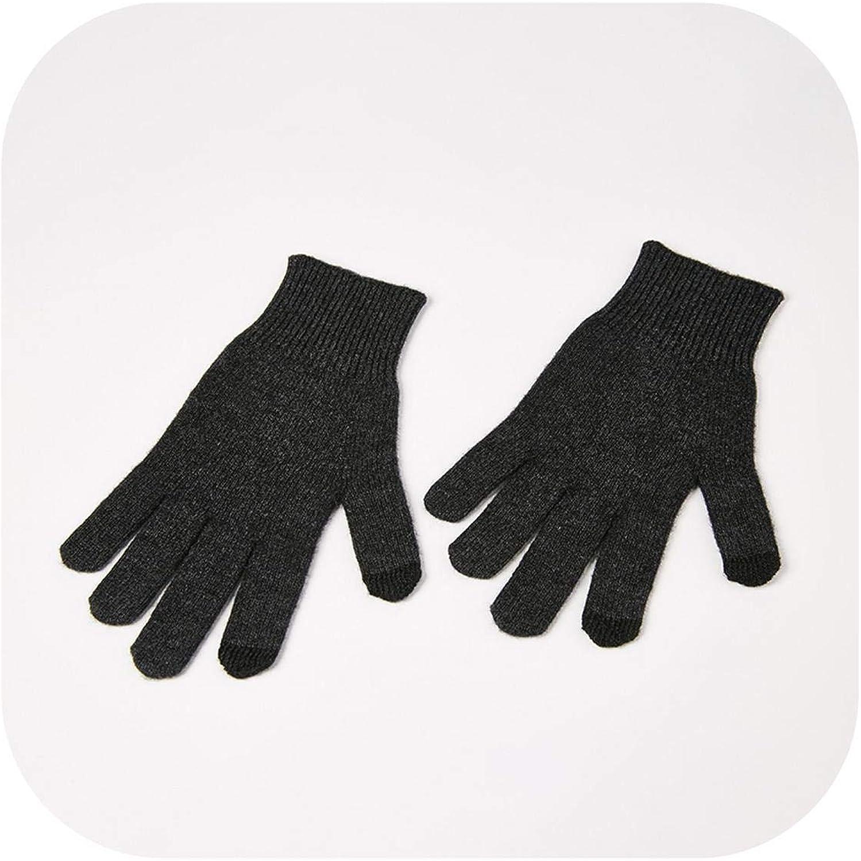 Autumn Winter Full Finger Warm Mittens Touch Screen Solid-Color Warm Wrist Gloves Women Men Wool Knitted Gloves-Dark gray-