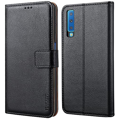 Peakally Samsung Galaxy A7 2018 Hülle, Premium Leder Tasche Flip Wallet Hülle [Standfunktion] [Kartenfächern] PU-Leder Schutzhülle Brieftasche Handyhülle für Samsung Galaxy A7 2018-Schwarz