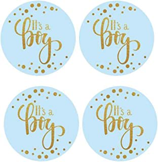 """2"""" Round 50 Pack Blue It's a Boy Label Stickers Baby Shower Party Sticker Labels Candy Stickers for Birthday Party Baby Sh..."""