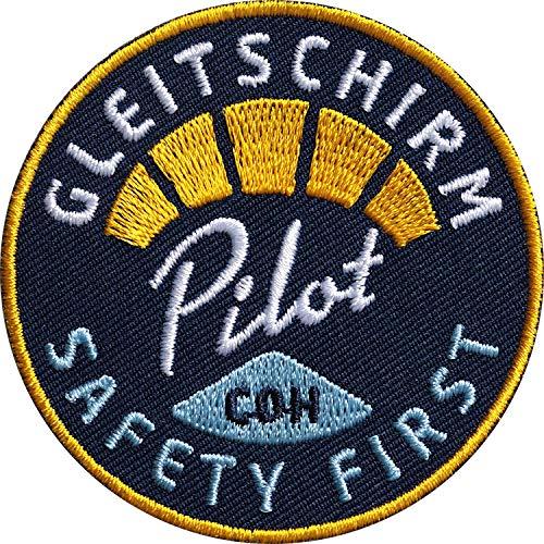 2 x Gleitschirm Pilot Patch 62 mm hochwertig gestickt / Aufbügler Aufnäher Flicken Bügel-Flicken zum bügeln aufnähen auf Kleidung Rucksack / Paragliding Flugsport Flugberg Drachen Flugschein Safety