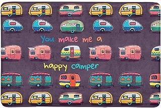 InterestPrint Funny You Make Me Happy Camper Motivational Quote with Retro Caravans Doormat Non Slip Indoor/Outdoor Floor Mat Home Decor, Door Mat Entrance Rug Rubber Backing 23.6