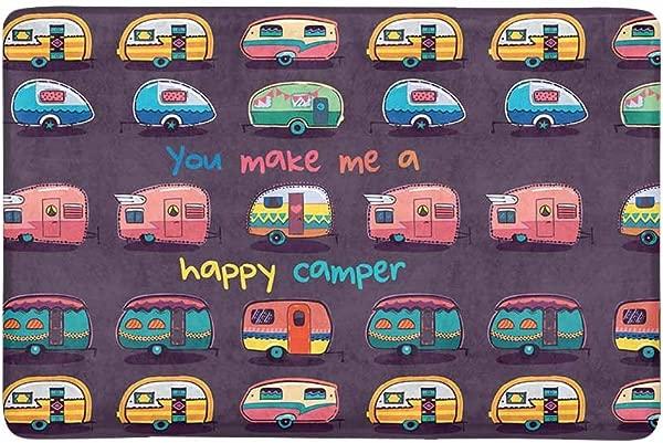 InterestPrint Funny You Make Me Happy Camper Motivational Quote With Retro Caravans Doormat Non Slip Indoor Outdoor Floor Mat Home Decor Door Mat Entrance Rug Rubber Backing 23 6 L X 15 7 W
