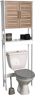 Juego Mueble Baño Blancos Tipo Roble Envejecido Colección Stockholm (Mueble de Sanitario 2 Puertas + 1 Estante Interior 63 x 23 x 179 cm)