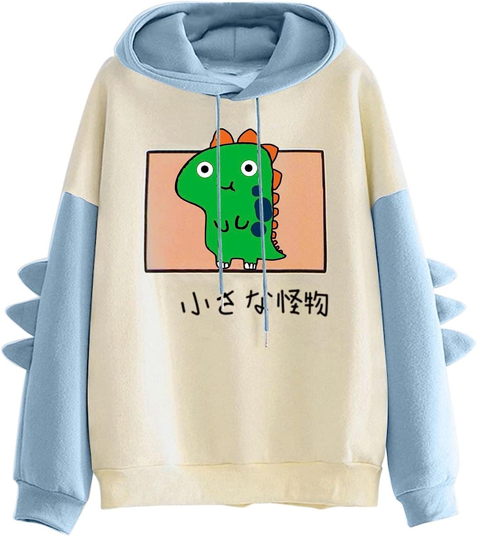 TAYBAGH Women's Cute Hoodie for Teen Girl Long Sleeve Kawaii Dinosaur Print Tee Casual Graphic Tops Animal Hoodies Shirt