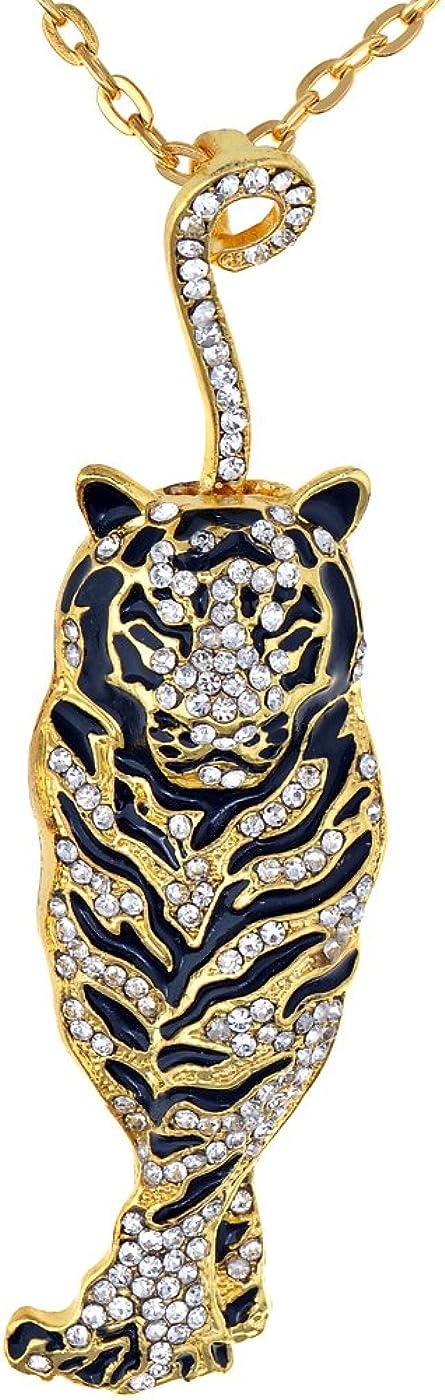 Alilang Golden Tone Rhinestone Black Enamel Stripe Tiger Pendant Necklace