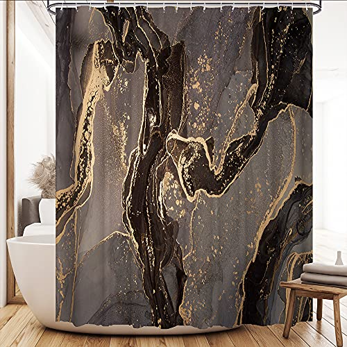Brown Marble Shower Curtain Dark Brown Abstract Marble Gold Splash Flush Pastel Luxury Waterproof Fabric Bathroom Decor Accessories Polyester Curtain with Hooks Machine Washable 72 x 72 inches