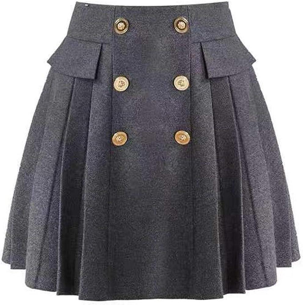 ZOMIHOYANG Flared Skirt for Women A-line high Elastic Plaid Button Winter Warm Wool Skirt