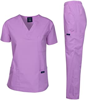 Dagacci Medical Uniform Woman and Man Scrub Set Unisex Medical Scrub Top and Pant, LAVENDER, XS