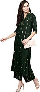 Archana Tex Women's Green & Golden Block Print Kurta with Palazzos