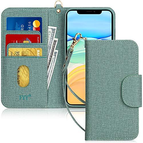 FYY Handyhülle für iPhone 11 6.1, iPhone 11 Hülle, Lederhülle mit Standfunktion & Kartenfach TPU Innenraum und [RFID-Schutz] Handytasche für Apple iPhone 11 6.1 Zoll (2019)-Leinwand Grün