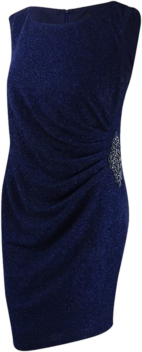 Betsy & Adam Women's Plus Size Glitter Draped Dress
