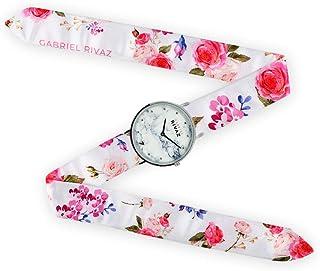 Montre Bracelet Foulard signée Gabriel Rivaz - Bracelet en Soie - Montre Fond marbré - Mécanisme Japonais - Pink Flowers
