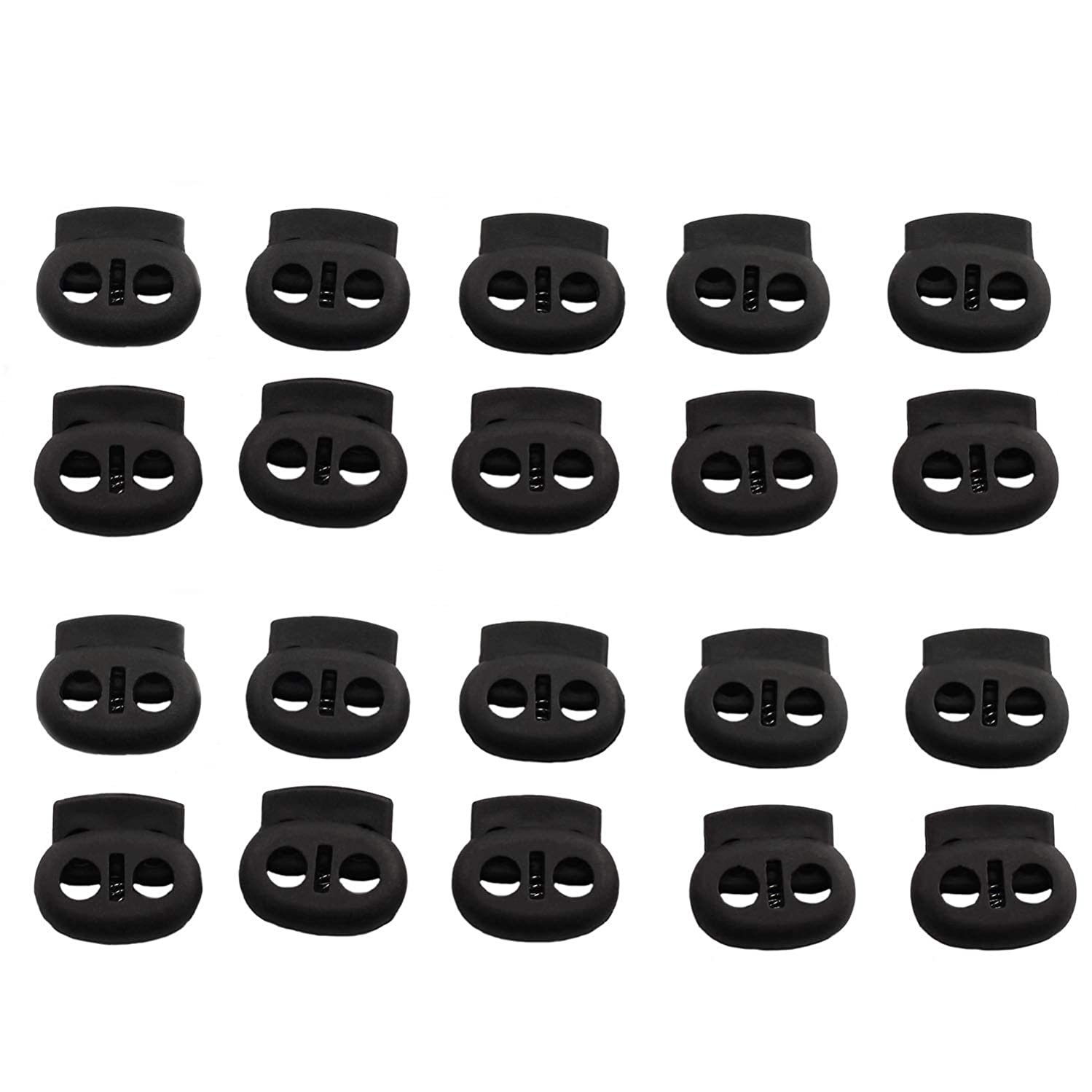 DGZZI 20pcs Black Dual Hole Cord Lock DIY Apparel Sewing Accessories Plastic Spring Loaded Fastener Bungee Rope Toggle Stopper Toggle Clip 19x17mm