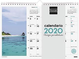 Finocam - Calendario de pared 2020 Imágenes Espiral 30x21 Paisajes Paradisíacos español