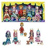 Royal Enchantimals Pack 5 muñecos con mascota, ropa de gala y accesorios de juguete, regalo para niñas y niños +4 años (Mattel HCJ18)