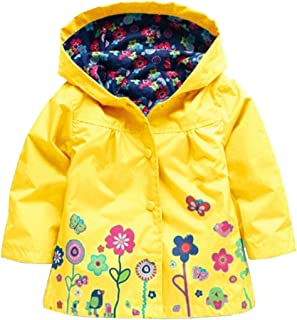 Baby Girl Kid Waterproof Floral Hooded Coat Jacket Outwear Raincoat Hoodies