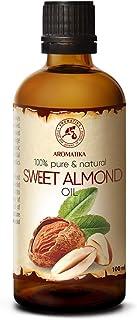 Sweet Almond Oil 3.4oz - Refined - Prunus Amygdalus Dulcis Oil - Italy - Glass Bottle - Best Care Oil for S...