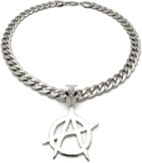 Hip Hop Iced Silver PT Anarchy Pendant & 11mm 20