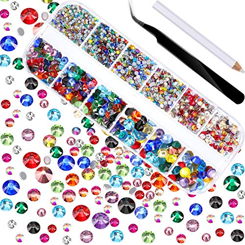2000 Pieces Hot Fix Glass Flatback Rhinestones HotFix Round Crystal Gems 1.5-6 MM (SS4-SS30) in Storage Box with Tweezers and Picking Rhinestones Pen (Clear)