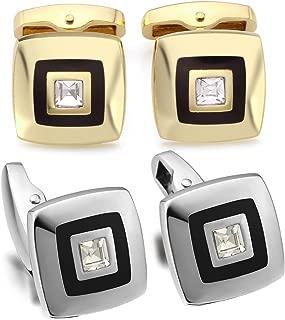 Zysta 2 Pairs Gold Silver Luxury Elegant Cufflinks Set Rhinestone Classic Square Cuff Link Back Closure Engraving Customized