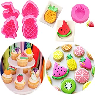 LaVenty Set of 7 Fruits Party Favor Fruits Cake Mold Fruits Fondant Mold Fruits Cookie Cutters Fruits Chocolate Mold for Fruits Birthday Party Supplies Favors