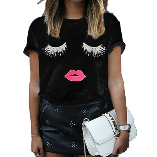 d7612dd83 Haola Summer Fashion Women Cute Short Sleeve Printed Tops Casual T Shirt