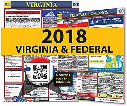 2018�Virginia State & Federal Arbeitsrechts Poster f�r Arbeitsplatz Compliance : B�robedarf & Schreibwaren