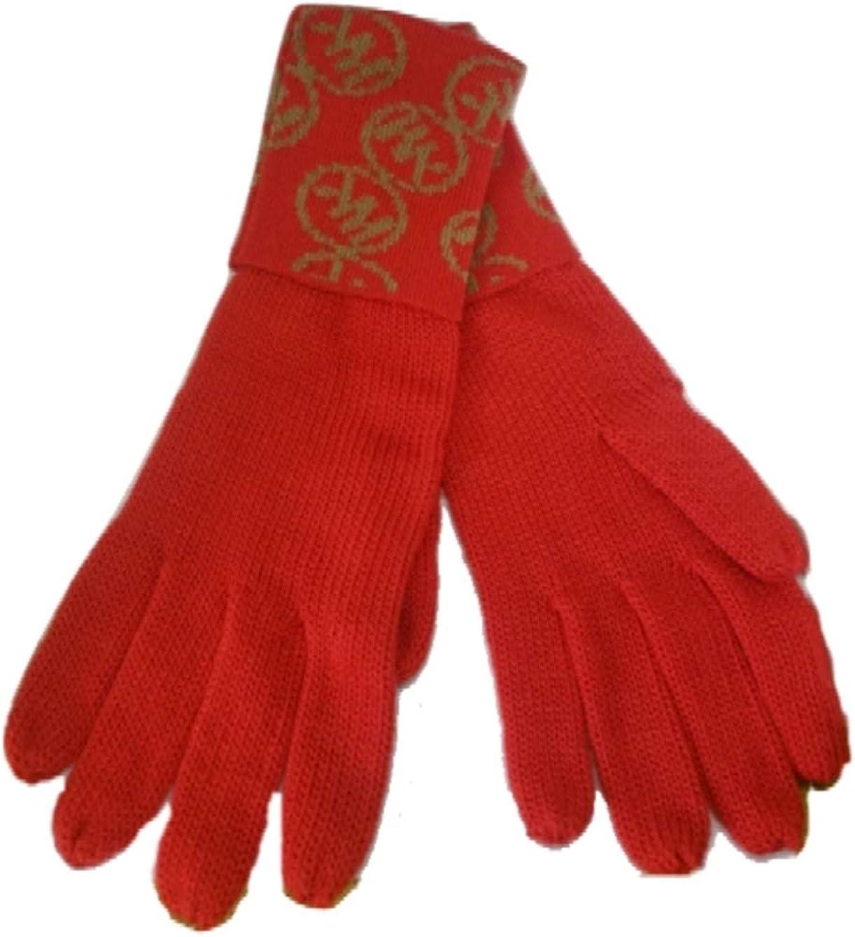 Michael Kors Circle Logo Knit Cuff Gloves, Tangerine/Camel
