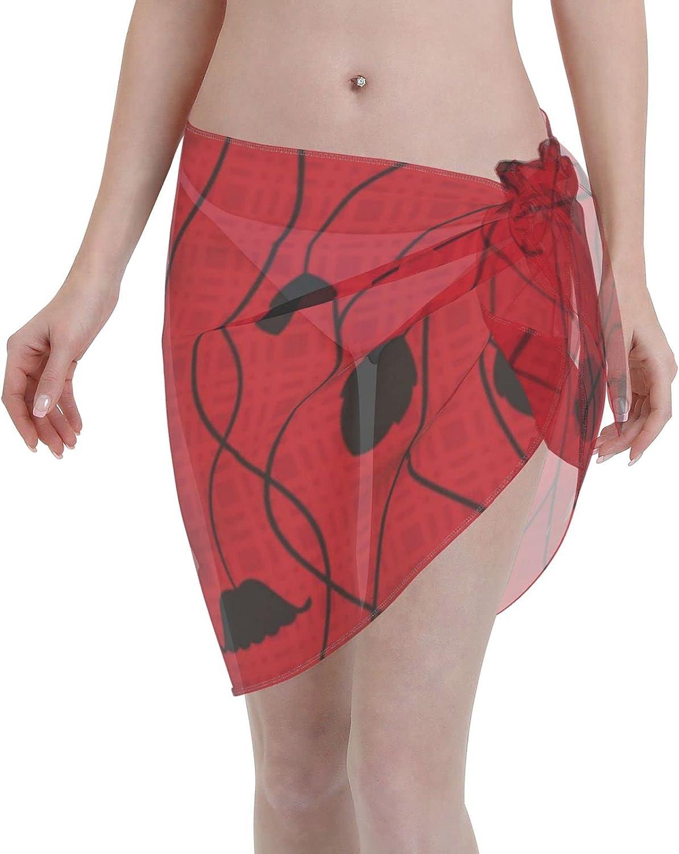Tulips Women Short Beach Sarongs Sheer Cover Ups Chiffon Scarf Bikini Wrap Skirt for Swimwear. Black