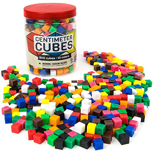Pint-Size Scholars Set of 500 Centimeter Cubes with Storage Container - Mathematics Learning Tool & Educational Teacher Resource for Sorting, Measuring, Counting, & Base-10 Units